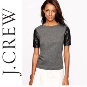 JCrew. Vegan leather baseball tee. Medium